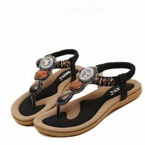 Genuine Leather Black Slipper Sandals
